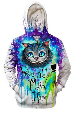 We're All Mad In Here By Pixie Cold Art Hooded Sweatshirt – The Official Strange & Creepy Store! Cute Lazy Outfits, Emo Outfits, Cool Hoodies, Cool Shirts, Creepy Cute Fashion, Dragon Hoodie, Cool Sweaters, Types Of Fashion Styles, Alice In Wonderland