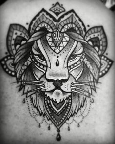 Black line lion mandala tattoo