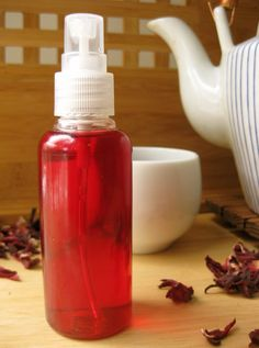 Hibiscus Hair Rinse for Red Highlights --- This DIY spray will impart warm, red highlights. You can use it on individual strands or chunks, or on your entire head for an allover refresh. --- Ingredients: dried hibiscus or hibiscus tea bags, water, paprika (opt)