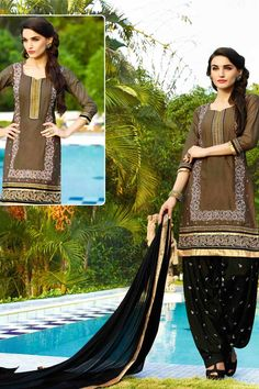 Brown & Black Cotton Cambric Suit With Chiffon Dupatta