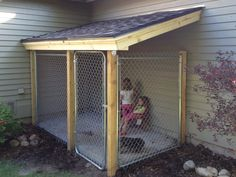 Drew built an awesome dog run... To make it custom Drew matched the existing slope of the roof, shingles and fascia. Now it just needs pai...