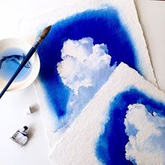 Weekend watercolouring all things blue☁️ #watercolours #blue #clouds #painting #sky