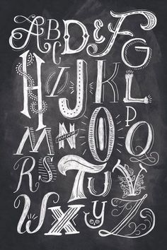 Beautiful hand-lettering and illustration by Orlando, Florida-based Shauna Lynn Panczyszyn. This alphabet shows all of the different techniques that could be used towards handlettering. Chalk Lettering, Creative Lettering, Types Of Lettering, Lettering Styles, Lettering Design, Lettering Ideas, Calligraphy Letters, Typography Letters, Chalkboard Lettering Alphabet