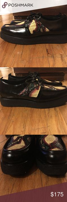 Pierre Hardy Leather Snakeskin Creeper Only worn twice. Leather body, Snakeskin detail, Leather laces, thick sole. Great shape, great designer. Pierre Hardy Shoes