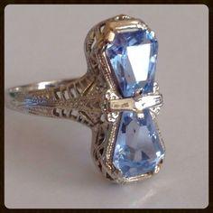 Art Deco 18K White Gold Filigree Aquamarine Ring from Antique Jewelry Expo at RubyLane.com