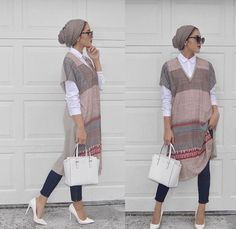 A proper hijab with neck covering would be nice Stylish Hijab, Casual Hijab Outfit, Hijab Chic, Islamic Fashion, Muslim Fashion, Modest Fashion, Fashion Outfits, Modest Wear, Modest Outfits