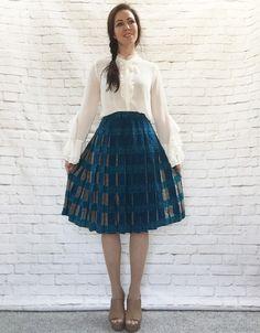 Vintage 80s Deco Plaid Print Silk Pleated Skirt Teal Tan Black Knee Length S by PopFizzVintage on Etsy