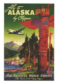 Pan American Airlines Posters | Vintage 1950s Pan American Airlines Alaska Travel Poster