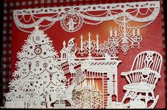 fantastic  creations from paper - victorian houses. Christmas scenes, stained glass window...