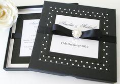 Black and white boxed wedding invitation