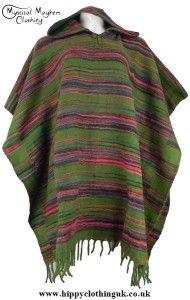 Bares Soft Feel Acrylic Wool Hippy Festival Hooded Poncho Green