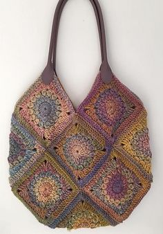 This gorgeous bag is made from granny squares in a sunburst style of pattern.