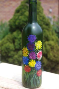Painted lighted wine bottle  Mixed Asters 1010 by DDEAE on Etsy, $30.00