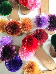 Spring is here and do you know what that means? It's pom pom season! As you know by now, pom poms and I go wayyyy back. There really isn't anything I haven't pom pom bombed. Pom Pom Slippers, Pom Pom Sandals, Craft Stick Crafts, Diy Crafts, Craft Ideas, Easter Bunny Decorations, Crafts To Make And Sell, Crochet Patterns For Beginners, Easter Crafts For Kids