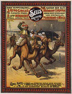 Camel Race Circus Mecca Arabian Arab Travel Vintage Poster Repro Large | eBay Circus Show, Circus Art, Vintage Circus Posters, Vintage Travel Posters, Carnival Posters, Circus Crafts, Magic Show, Poster Pictures, Big Top