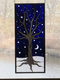 Stained Glass Tree on a Starry Winter Night by RenaissanceGlass, $325.00