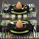 Stripes and Polka Dots Table Setting. #DIY #Polka Dots #Green