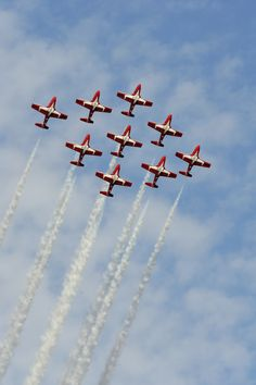 The Snowbirds perform at the Comox Armed Forces Day and Air Show on August in Comox, British Columbia. Navy Air Force, Royal Air Force, Air Fighter, Fighter Jets, Military Shows, West Coast Living, Canadian Things, Aerial Acrobatics, Airplane Photography