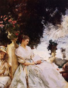 In the Garden Corfu by John Singer Sargent (1856-1925).