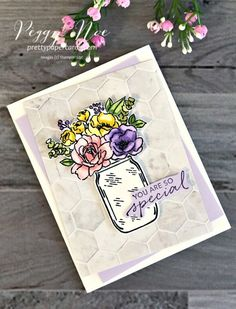 Pretty Paper Cards - Peggy Noe, Independent Stampin' Up! Mason Jar Cards, Geometric Drawing, Stamping Up Cards, Shaker Cards, Happy Birthday Cards, Diy Cards, Cardmaking, Stampin Up, Flowers