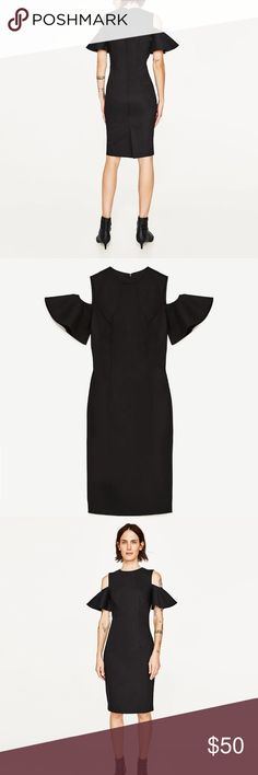 Zara Women's Cocktail Black Dress Off Shoulder You can't never go wrong with a black dress.  Wear this elegant dress for a nice dinner or any special event. -  New with tags -  Tube dress with round neck and off-the-shoulder neckline -  Short sleeves with frill detail -  Back hem slit -  Back zip fastening Zara Dresses Mini