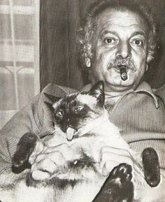 Greatest poet of all time Georges Brassens and his cat