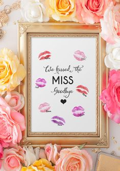 "JGA Spiel -Kiss the MISS Goodbye, Gästebuch Poster, Junggesellenabschied- Bachelorette Sweet DIY idea for the hen party. ""Kiss the miss. Bachelorette Party Decorations, Bridal Shower Decorations, Wedding Decorations, Anniversary Decorations, Book Posters, Bachelorette Weekend, Bachelorette Parties, Bridal Shower Party, Wedding Beauty"
