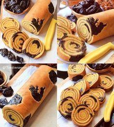 No automatic alt text available. Cake Roll Recipes, Dessert Recipes, Bolu Cake, Prune Cake, Prune Recipes, Ogura Cake, Lapis Legit, Resep Cake, Asian Cake
