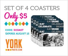 4 Custom Coasters + 40 Photo Prints for Only $5! Photo