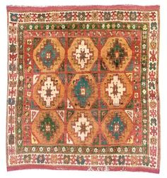 KONYA RUG  CENTRAL ANATOLIA, CIRCA 1850  Full pile throughout, corroded brown, some restoration, selvages replaced, ends complete 6ft.7in. x 4ft.7in. (201cm. x 140cm.)