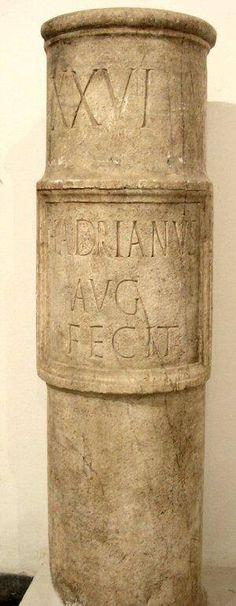 Milestone from the Roman city of Italica, Spain. Archaeological Museum, Sevilla. translation: 26 milia passum (Roman mile #26; 1 milia passum = 1000 paces; milia=1000, passuum=paces) Hadrianus Augustus made it