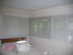 Wood Blinds in corner windows. Valance will have to be trimmed on site. Corner Window Treatments, Corner Windows, Valance, Curtains, Wood Blinds, Room, Home Decor, Bedroom, Blinds