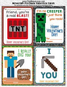 Printable Minecraft Valentines! Free!