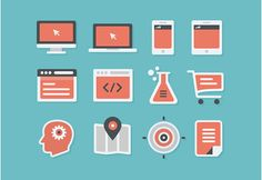 Here is a set of 16 flat and coloured icons that you can use for inspiration. Free PSD designed by Andrew McKay.