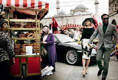 Off the Market - The Egyptian Bazaar adjacent to the New Mosque has drawn the shopping crowd since the 17th century. Moss's touring silhouette, meanwhile, is timelessly chic—a touch Old Hollywood, but with a graphic punch that's very 2014. Dior black silk bodysuit ($2,900) and heels; Dior boutiques. Jason Wu cream-and-black embroidered linen skirt, $4,210; jasonwustudio.com. Ellen Christine Couture hat. On Ejiofor: Prada suit. Paul Stuart turtleneck. Tom Ford sunglasses.