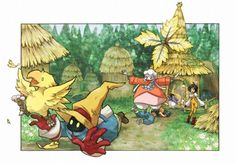 Quina, Zidane, Garnet, and Vivi Chasing the Chocobo ||| Final Fantasy IX Fan Art