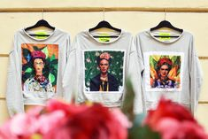 #frida #fridakahlo #sweater #limited #collection #szputnyikshop Limited Collection, Unique Vintage, The Past, Brand New, Pullover, Sweatshirts, Prints, Sweaters, Color