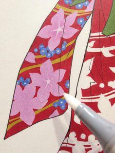 花柄にカラーレス・ブレンダーで白抜き。 pic.twitter.com/BmU6lF488Y