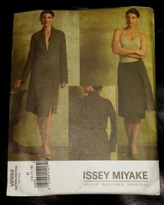 Uncut Issey Miyake Vogue Pattern V2952 Size D 12-14-16 Misses Jacket and Skirt