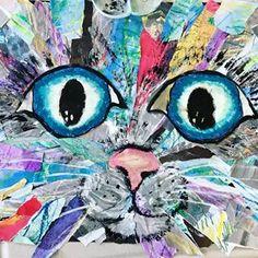 These fabulous creatures were made by kids at the International School of Iceland with my amazing art teacher friend Kirsten. 🖤🌈🖤#kidsart #artclass #kidscollage #collageart #kidsartofinstagram #artroom #artlessonsforkids #arted #elementaryart #childrenart #childart