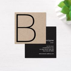Square business cards h stuff pinterest business cards cool kraft professional monogram square square business card reheart Image collections