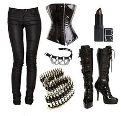 Black Metal Girl Style. Spikes Corsets Boots.