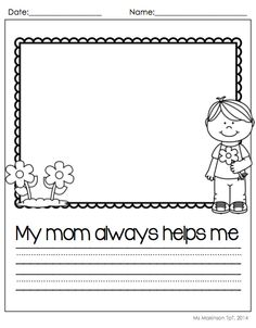 May Printable Packet - Kindergarten Literacy and Math. Mother's Day writing prompts.