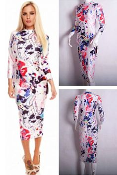 Colorful Painting Print Sleeved Midi Dress