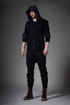 Black hoodie drop crotch pants chunky socks