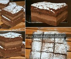 Chocolate Magic Custard Cakes Just look at these magical bars! Chocolate Magic Custard Cakes Ingredients 4 eggs (whites separated from yolks. No Bake Treats, Yummy Treats, Sweet Treats, Chocolate Custard, Magic Chocolate, Chocolate Cake, Easy Desserts, Delicious Desserts, Yummy Food