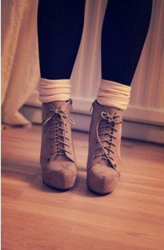 Heeled lace up boots, socks, leggings
