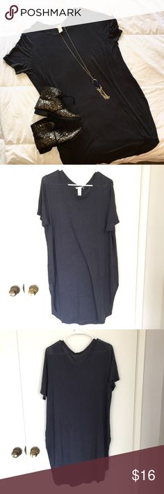 H&M T-Shirt Dress super soft (kind of sheer) charcoal grey t-shirt dress from H&M. ideal for a swimsuit cover up at the beach this summer!  ✨just trying to clean out my closet, make an offer and it's yours!✨ H&M Swim Coverups
