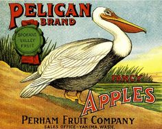Pelican Fruit Crate Label Art Prints