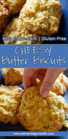 Keto Biscuits with Thyme and Cheese - Primal Edge Health Low Carb Biscuit, Low Carb Bread, Keto Bread, Low Carb Keto, Keto Foods, Low Carb Breakfast, Breakfast Recipes, Vegan Breakfast, Breakfast Cereal
